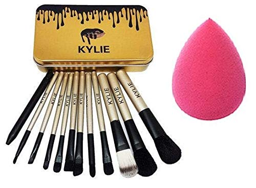 KYLIE Professional Makeup Brushes Kit with A Storage Box - Set of 12 With sponge puff (Colour may vary)