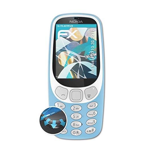 atFolix Schutzfolie passend für Nokia 3310 3G 2017 Folie, ultraklare & Flexible FX Bildschirmschutzfolie (3X)