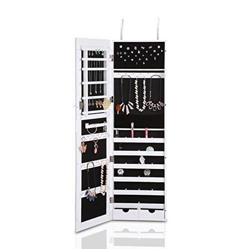 IKAYAA-W6219-Joyero-Armario-con-Espejo-GrandeOrganizador-de-Joyeras-Joyas-Colgante-a-la-Puerta-Pared