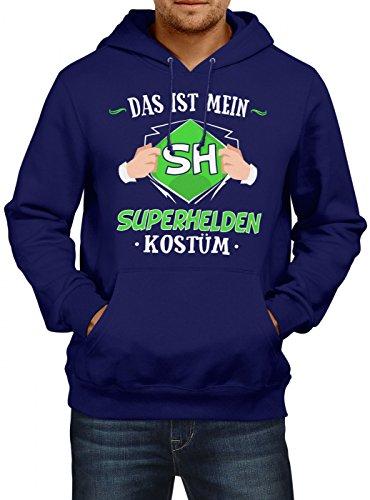 (Shirt Happenz Kostüm Superheld Premium Hoody   Verkleidung   Karneval Hoodies   Fasching   Herren   Kapuzenpullover, Farbe:Dunkelblau;Größe:XL)