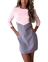 Vestidos ocasionales de costura de las mujeres Vestido de color Hit
