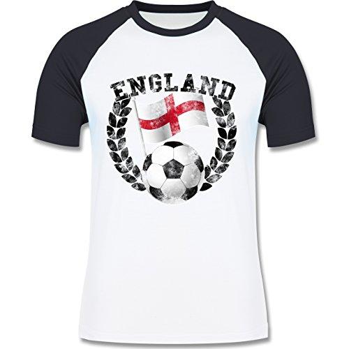 EM 2016 - Frankreich - England Flagge & Fußball Vintage - zweifarbiges Baseballshirt für Männer Weiß/Navy Blau