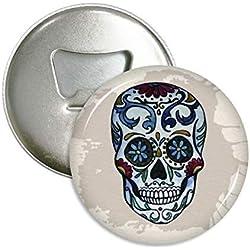 (3 imanes) Imán con calavera mexicana, diseño con abridor