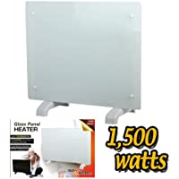 Electric Panel Heater Radiator Glass White Portable Free Standing Wall Mounted (1500w)