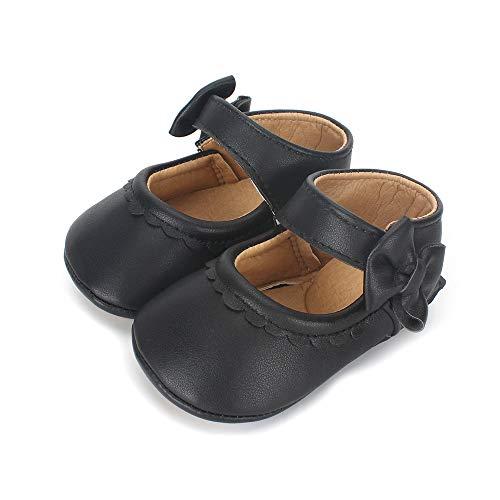 Lacofia Zapatos Antideslizantes Primeros Pasos para bebé niñas con Suela Bailarinas bebé niña Negro...