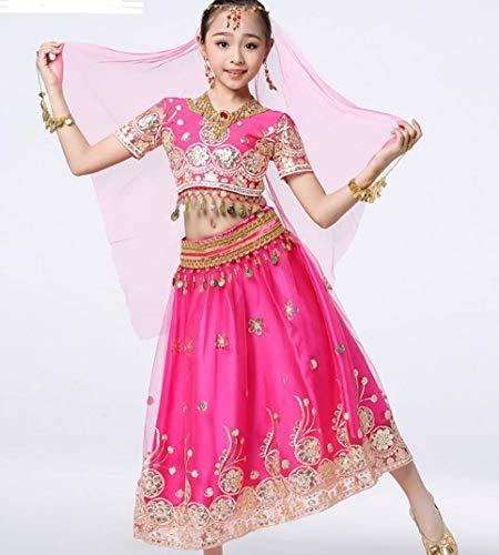 ZYLL Trajes de Danza India para niños Disfraces de Danza del Vientre Trajes de la Competencia de Rendimiento de Bollywood,Pink,S