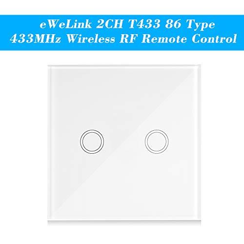OWSOO Wand-Touchpanel 2CH T433 86 Typ eWeLink Klebrige 433-MHz-Funkfernbedienungs-Automatisierungsmodule 2-Fach-Unterstützung Alle SONOFF RF 433-MHz-Produkte steuern Treppenlicht -