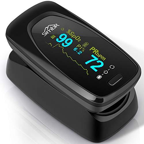 SIMBR Pulsoximeter Oximeter Fingerpulsoximeter, zur Messung der Sauerstoffsättigung, Spo2, PI und des Puls, mit Alarm Funktion, Einknopfbedienung, 360° drehbares Display, mit Nylontasche, Schwarz
