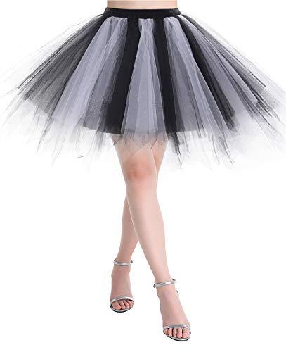 MuaDress MUALXQ Kurz Tutu Retro Petticoat 1950s Vintage 50er Minirock Unterrock Tüllrock Schwarz Weiß ()