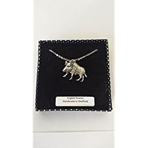 A65Wildschwein 2feinem englischen Zinn 3d Platin Plattiert Halskette handgefertigt 45,7cm mit Stolz In Detail Verpackung