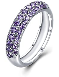 Obsede Light Purple Inlay Zircon Band Ring Woman's Engagement Ring Valentine's Day Gift 6-10