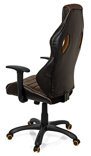41GHgFZDFLL - hjh OFFICE 621880 RACER VINTAGE IV - Silla Gaming y oficina,  piel sintética marrón