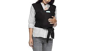 Moby Wrap Classic - Fular portabebés elástico, color negro