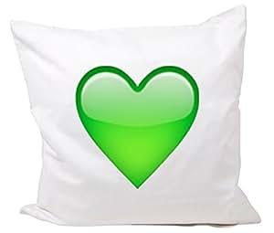 40 x 40 Cm taie d'oreiller smiley en forme de cœur vert emoji smiley trend kult mignon, doux, taille basse, cool, coussin de nuque, coussin de décoration mikrofasser