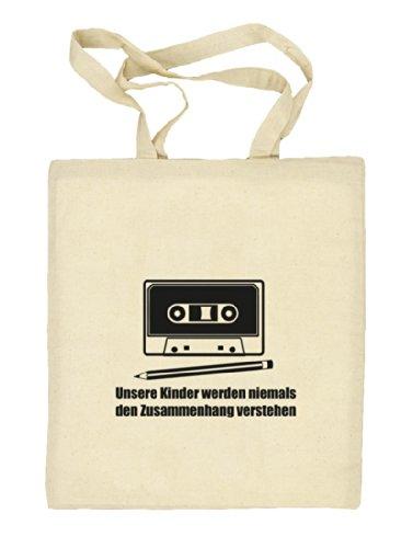 Shirtstreet24, Bleistift - Kassette, Natur Stoffbeutel Jute Tasche (ONE SIZE) Natur