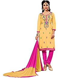 Nivah Fashion Women's Ltest Cotton Embroidery Work With Stoning Salwar Suit (Free Size_Semi-Stich) G11(Yellow)