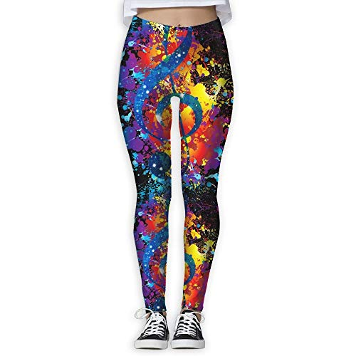d76e49f8f best& Galaxy Music Note Watercolor Women's Stretchable Sports Running Yoga  Workout Leggings Pants Large