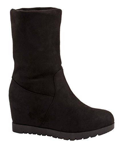 Elara Damen Schlupf Stiefel | Hidden Wedges | Keilabsatz Stiefeletten Boots Farbe Schwarz, Größe 40