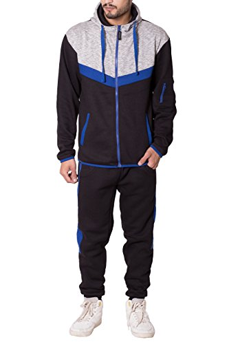 Noroze Herren Kontrast Streifen Vlies Trainingsanzug Jogginganzug Kapuzenpullover Trainingshose Set (XL, Schwarz) (Fleece-gefütterte Trainingshose)