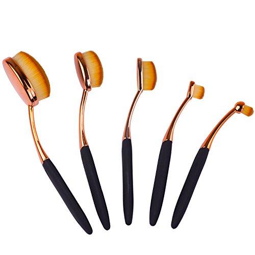 Pinceaux de Maquillage Ovales – Meersee Maquillage brosses à dents,Kit De Pinceau Maquillage Professionnel, Rose Gold