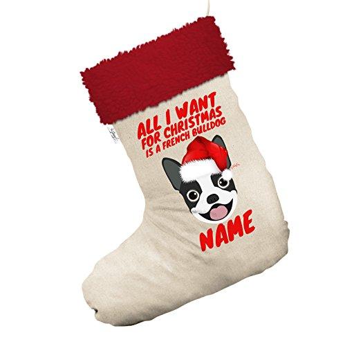 All I Want For Christmas ist ein französischer Bulldog personalisierbar Jumbo weiß Weihnachten Strümpfe Socken mit rotem Rand (Weihnachts-strumpf Bulldog)