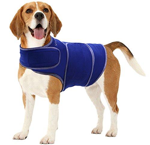 Vivaglory Angst T-Shirt mit Stressabbau und Anti-Angst-Effekt für Hunde, verstellbar, Größe M, Blau - 3