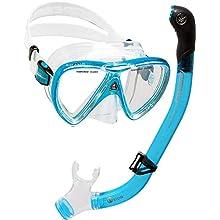 Cressi Unisex's Ikarus & Orion Snorkel Combo Set, Transparent/Translucent Light Blue, Uni
