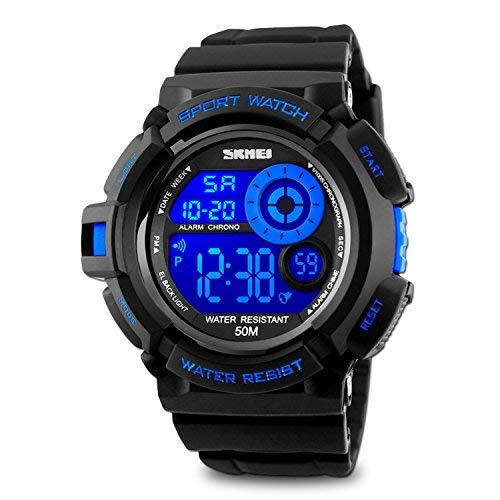 Orologio da polso digitale orologio sportivo da uomo blu moda grande volto quadrante el retroilluminazione cronometro sveglia funzione leggero economici orologi in vendita 5atm resistente all' acqua