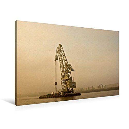 Premium Textil-Leinwand 90 cm x 60 cm quer, Schwimmkran im Morgendunst. | Wandbild, Bild auf Keilrahmen, Fertigbild auf echter Leinwand, Leinwanddruck (CALVENDO Mobilitaet)