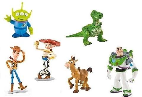 Bullyland Pixar Disney Toy Story 3 Set 6 Figurine - Buzz L'Eclair Jessie Rex Woody Bullseye Alien