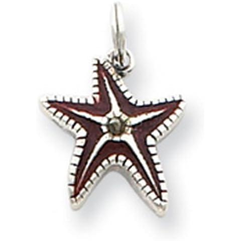 Icecarats Diseñador De Joyas De Ley Estrella Esmaltado Encanto Pescado Marrón Plata