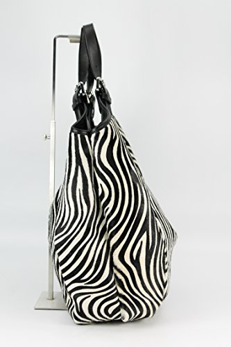 Belli, Borsa shopper donna Nero (Zebra)
