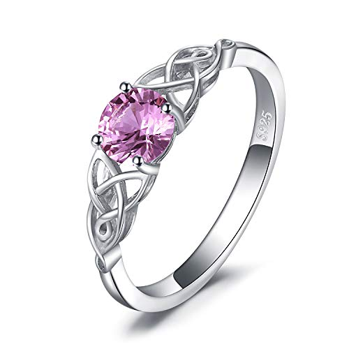 Knot Ring (JewelryPalace Celtic Knot 0.8ct Erstellt Pink Saphir Ring 925 Sterling Silber)