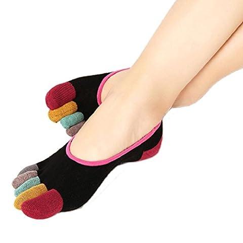 Socken Damen Sport Kolylong 1 Paar Damen Non Slip Belüftung Massage Zehensocken (Freie Größe) (Schwarz)