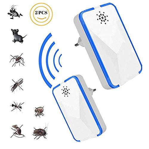 Ultraschall Schädlingsbekämpfer, Mäuse Vertreiben Pest Repeller, 100% Sicher für Menschen und Haustiere, Insektenschutzmittel Gegen Ratten, Mäuse, Mücken, Fliegen, Kakerlaken, Pest Indoor 2psc,White