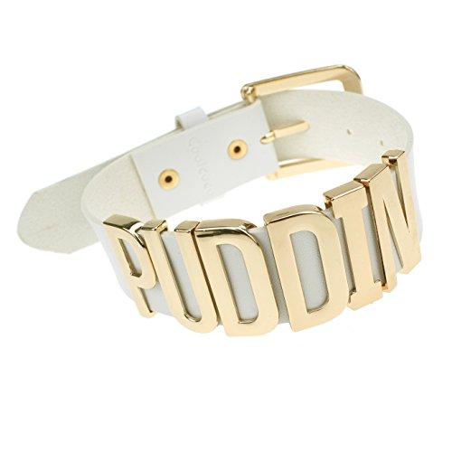 Weiße Leder Gürtel Gold Metall Buchstabe Puddin Halsband Halskette für Frauen und Mädchen (ca. 1,2 Zoll Breite) (Joker Damen Kostüme)