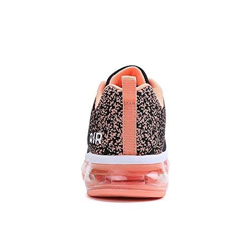 BETY Herren Damen Sportschuhe Laufschuhe mit Luftpolster Turnschuhe Profilsohle Sneakers Leichte Schuhe Schwarz und Orange