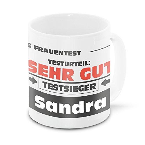 Namens-Tasse Sandra mit Motiv Stiftung Frauentest, weiss   Freundschafts-Tasse - Namens-Tasse
