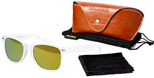Balinco Hochwertige Polarisierte Nerd Rubber Sonnenbrille im Set (24 Modelle) Retro Vintage Unisex Brille mit Federscharnier (White-Yellow Mirror)