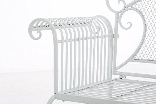 CLP Gartenbank RIKE im Landhausstil, aus lackiertem Eisen, 136 x 59 cm – aus bis zu 6 Farben wählen Weiß - 6