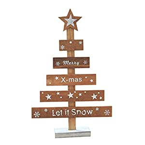 Hkfv Amazing creative cute formato mini alberi di Natale in regalo natalizio Merry Christmas letto decorazione da tavolo casa ufficio in legno albero unico Christmas Home Decor, Legno, C, 28 cm