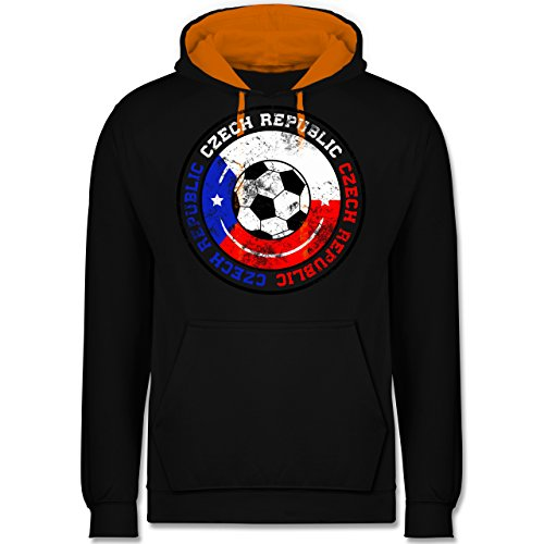 Fußball - Czech Republic Kreis & Fußball Vintage - Kontrast Hoodie Schwarz/Orange