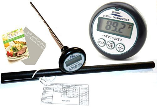 Robelle 8-Inch Probe Digital Cooking Meat Thermometer with 2 BBQ eBooks and Meat Temperature Chart by Robelle (Bbq-chart)