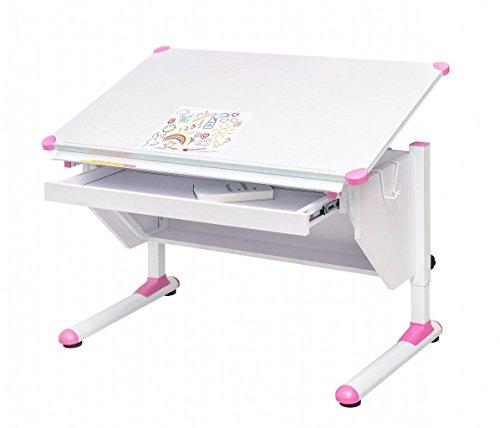 MSZ Design Kinderschreibtisch Schülerschreibtisch Variant weiß verstellbar mit Schublade für Jungs und Mädchen