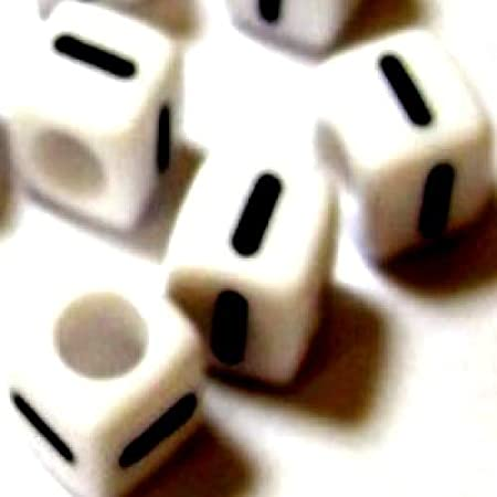 """50 pieces 6mm """"I"""" White Cube Individual Letter Beads – KB0645"""