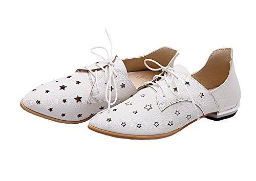 VogueZone009 Femme Dépolissement à Talon Bas Chaussures Légeres Blanc