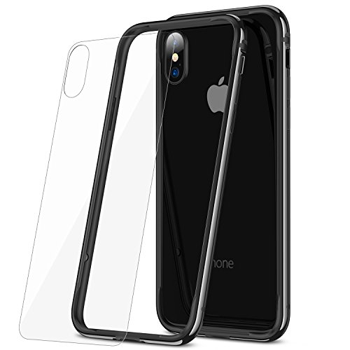 iPhone X Hülle, RANVOO Bumper Hülle Aluminium Rahmen + Innen Gepolstert TPU Metall Bumper case for iPhone X Rosegold, Mit iphone X Rückseite Glas Folie Diamandschwarz