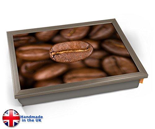 Coffee Beans Macro Bean Cushion Lap Tray Kissen Tablett Knietablett Kissentablett - Chrome Effekt Rahmen (Tray Notebook-lap)