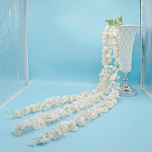 AUTOECHO for 1.4 Meters Long Party Wedding Decoration Simulation Three-branch Long Wisteria Flower Vine Decorative Artificial Fake Flowers