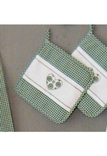 Topflappen - grün - weiß kariert Stickerei - Herz - (Herz-topflappen)